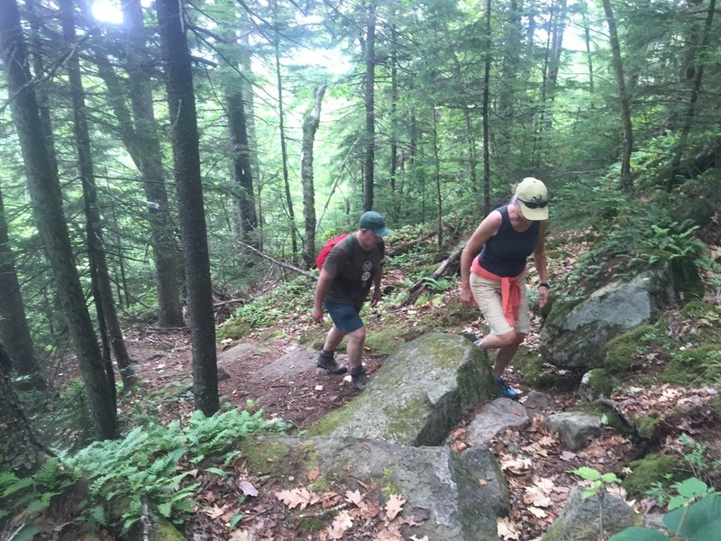 Making the way up some of the rockier switchbacks on Copple Crown.