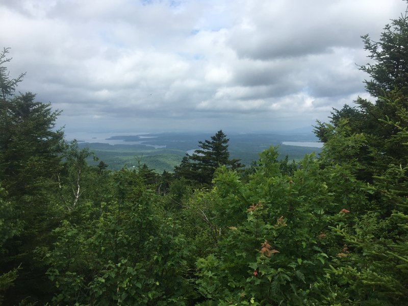 The view from the summit on a cloudy day.
