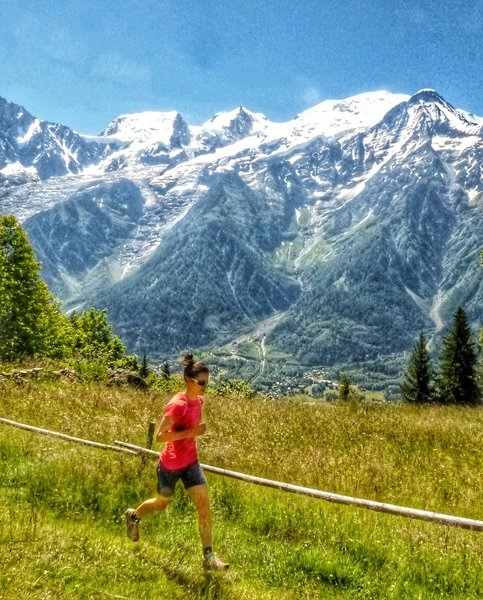 One of the few open areas on this loop with a great view of Mont Blanc and it's massive glaciers just behind.