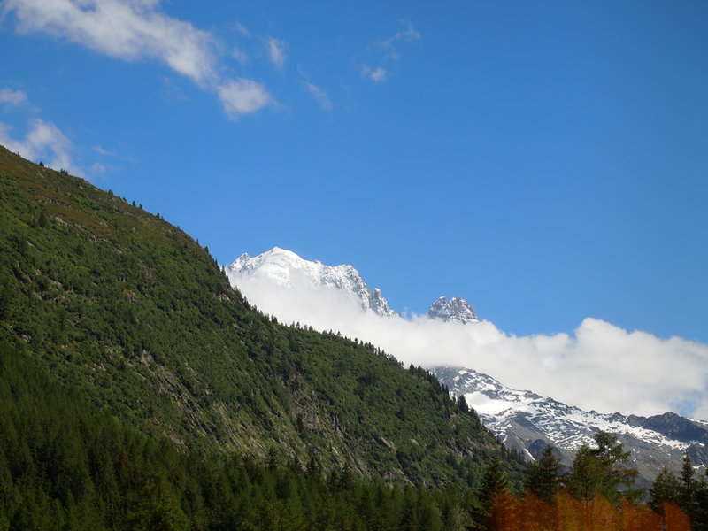 Looking up at the French mountains.
