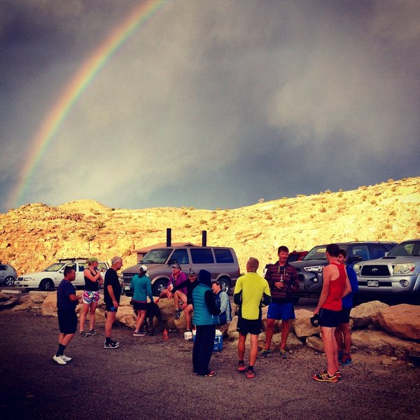 Post-run parking lot social hour with the Mesa Monument Striders.