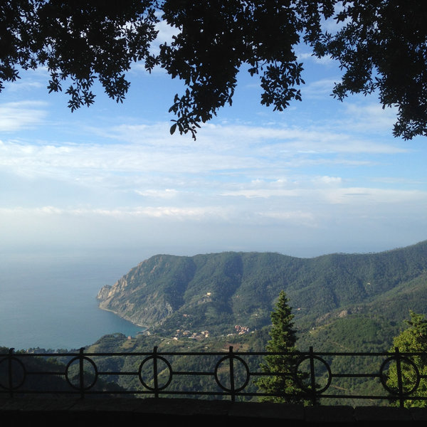 View of Monterosso and Punta Mesco from the Sanctuary of Soviore