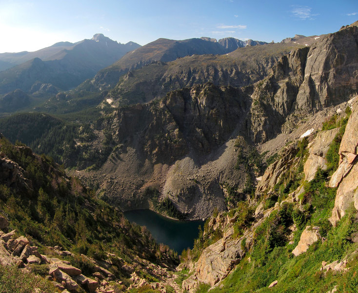 Emerald Lake from Flattop Mountain trail in Rocky Mountain National Park