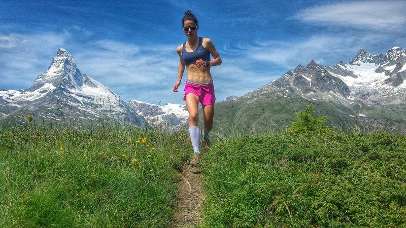 Cresting the climb to Sunnegga with the Matterhorn as a backdrop