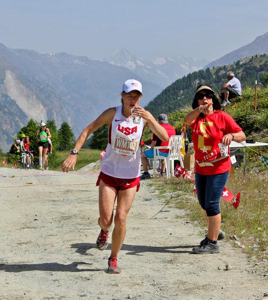 Aid station at the top of the Sunnegga climb during the Zermatt marathon