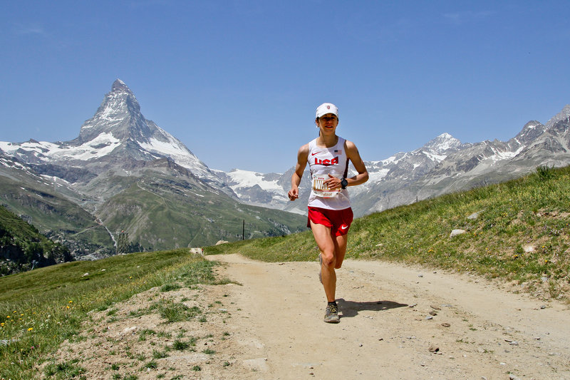 The big climb to Riffelberg with the Matterhorn in the background