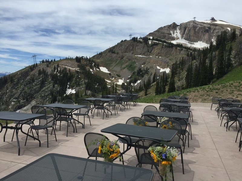 """The """"Deck"""" at the top of the Bridger Gondola, where the Wildflower and Cirque Trails intersect."""