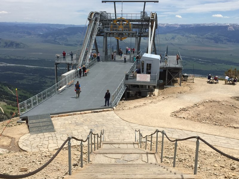 Top of the Jackson Hole Mountain Resort Aerial Tram, and finish area of the Rendezvous Mountain Hillclimb