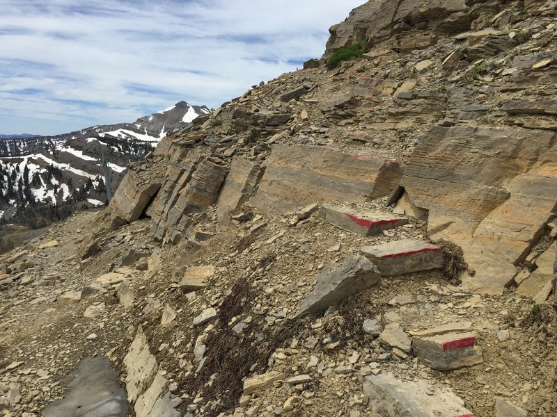 """The start of the """"red rock"""" East Ridge scramble section, nearing the top of the Cirque Trail"""