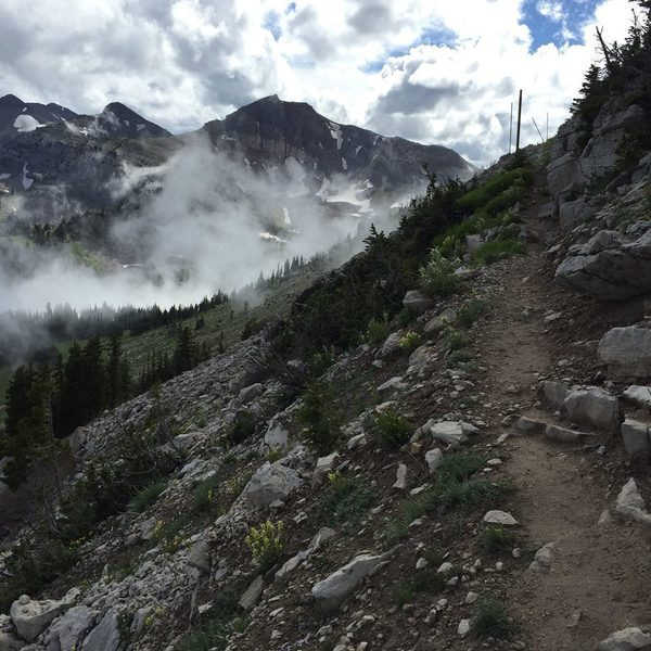 Looking across Rendezvous Bowl towards Cody Peak, near the top of the Cirque Trail
