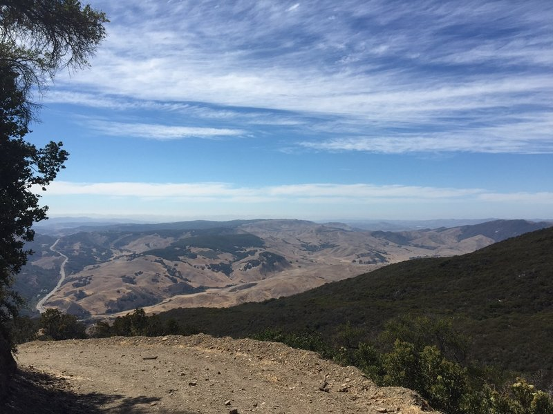 A view of the valley from a high vantage point on the Gaviota Peak Fire Raod