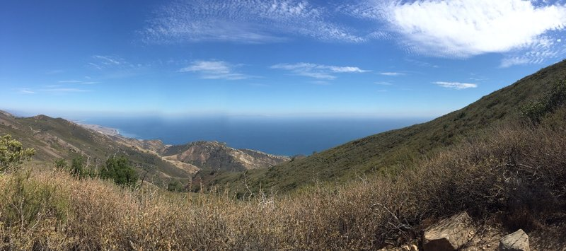 View of the  Pacific Ocean from the top of Gaviota Mountain