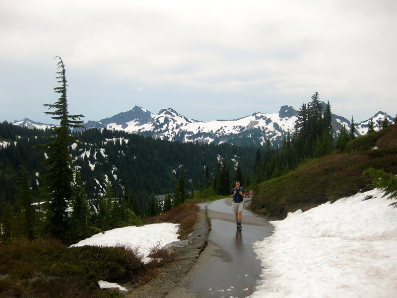 Walking on the paved part of the Skyline Trail