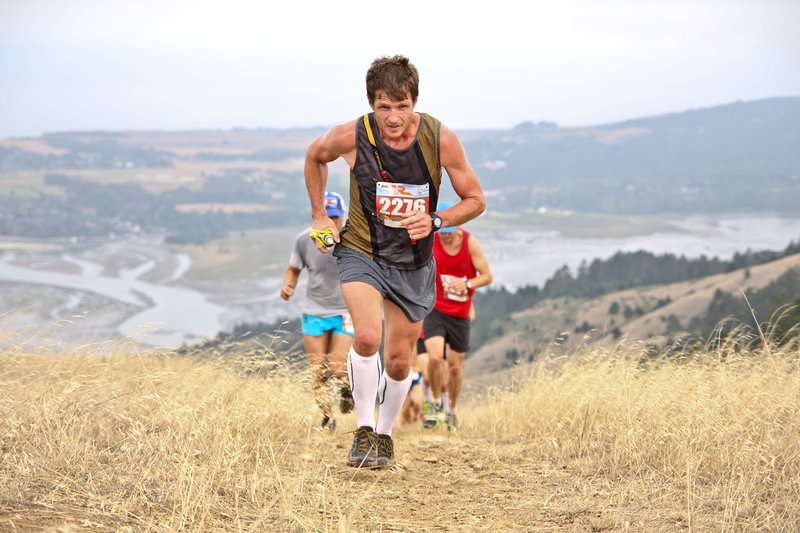 Topping out the big climb at the Table Rock 27k