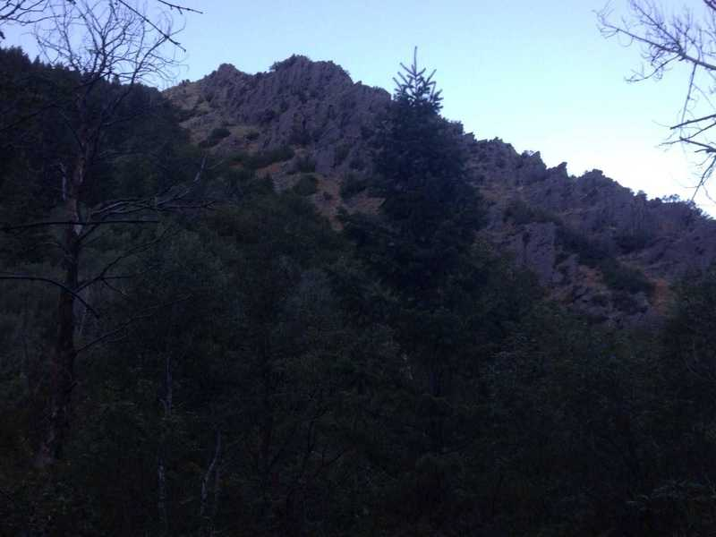 A view of the beautiful rocky ridge that exists about a mile and a half from the forest service gate.