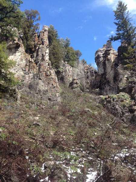 Some of the rock formations that can be seen from the Richards Hollow trail.