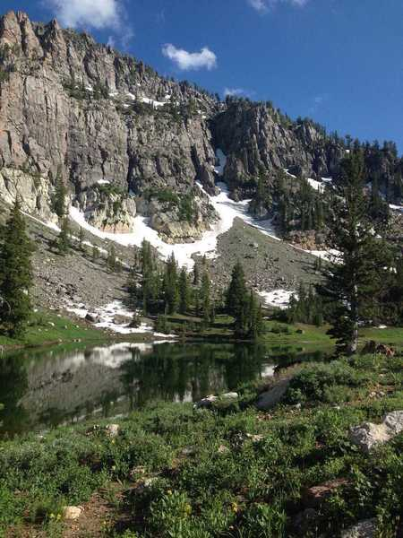 A view of the cirque's headwall above High Creek Lake
