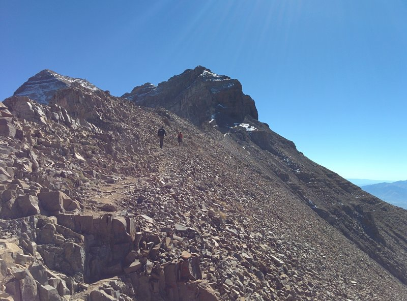 Hiking to the peak.