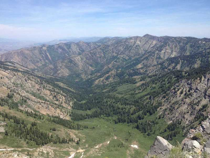 A view of High Creek Canyon from Cherry Peak