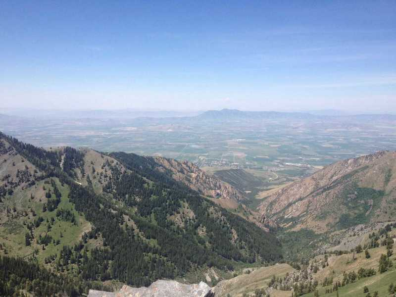 A view of Cherry Creek Canyon and Cache Valley from Cherry Peak