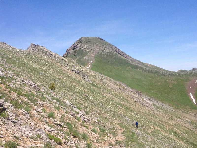 A view of Cherry Peak from the trail that skirts under the ridge that forms the east wall of Cherry Creek Canyon