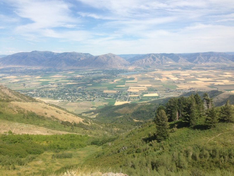 A view of southern Cache Valley, Hyrum Reservoir and Blacksmith Fork Canyon from the trail up from Rattlesnake