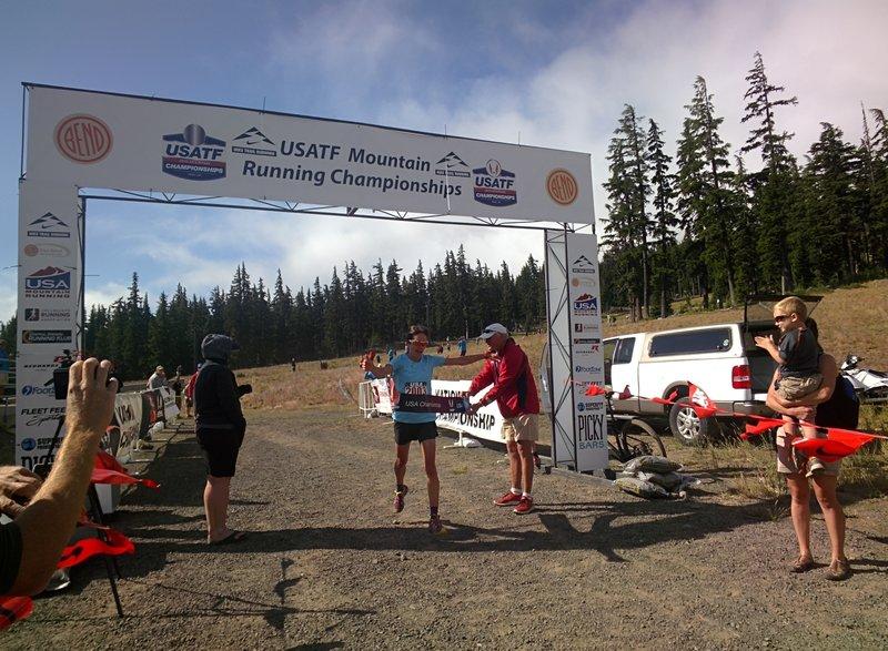 Morgan Arritola winning the USATF Mountain Running Championships 8K race.
