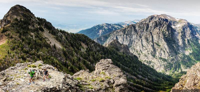Amazing views of Albright Peak and Death Canyon, nearing Static Peak Divide