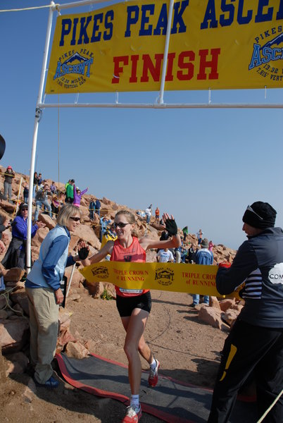 Kim Dobson captures the 2012 Pikes Peak Ascent Women's crown, setting a huge course record of 2:24:59 in the process. Photo: Nancy Hobbs