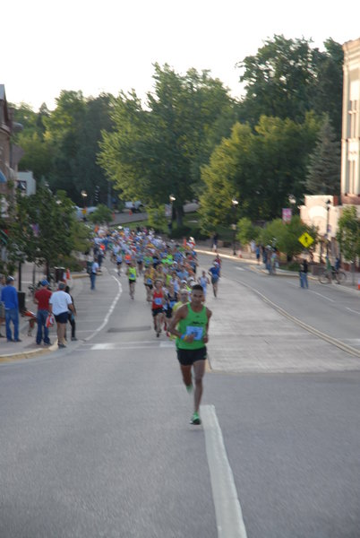 Early morning in downtown Manitou Springs as Pikes Peak Ascent runners get off to a fast start before hitting the Barr Trail. Photo by Nancy Hobbs.
