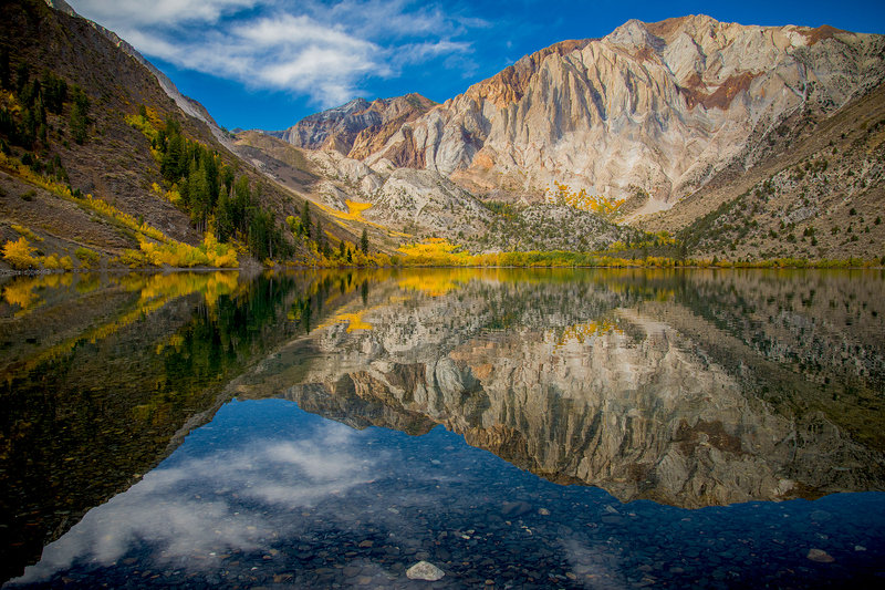 Convict Lake in the fall, aspen trees are firing in color.