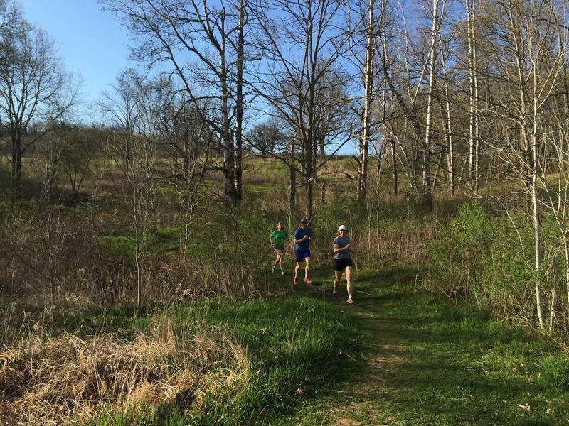 Trail runners enjoying a beautiful spring day on the Table Bluff segment of the Ice Age Trail.