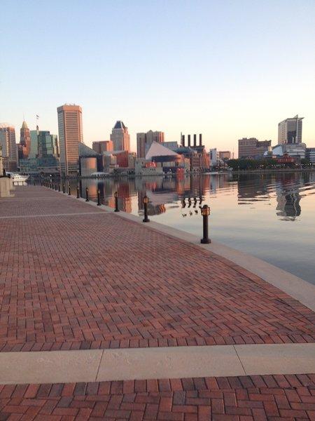 Looking back toward the Baltimore Aquarium