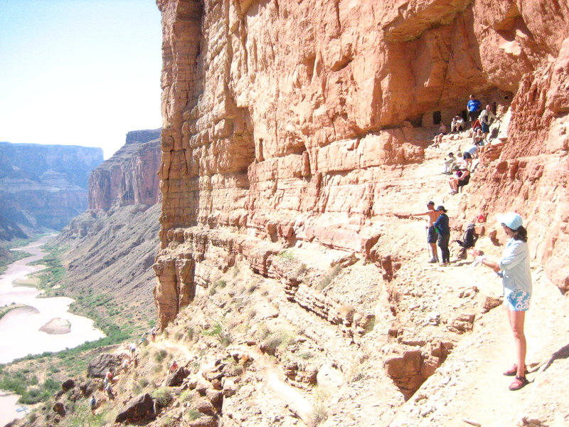 Hikers approaching the granaries