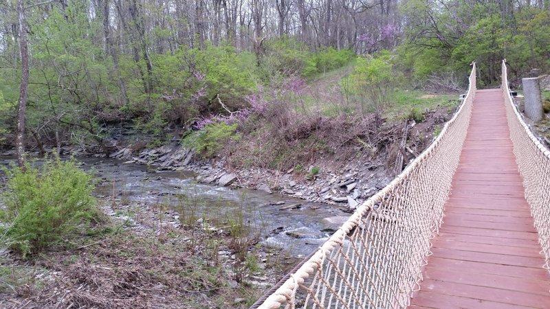 Swinging bridge at Caesar Creek.