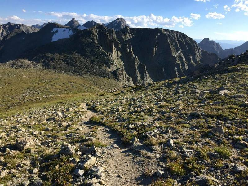 From the trail that heads up Pawnee Peak, looking at Pawnee Pass and Shoshoni Peak.