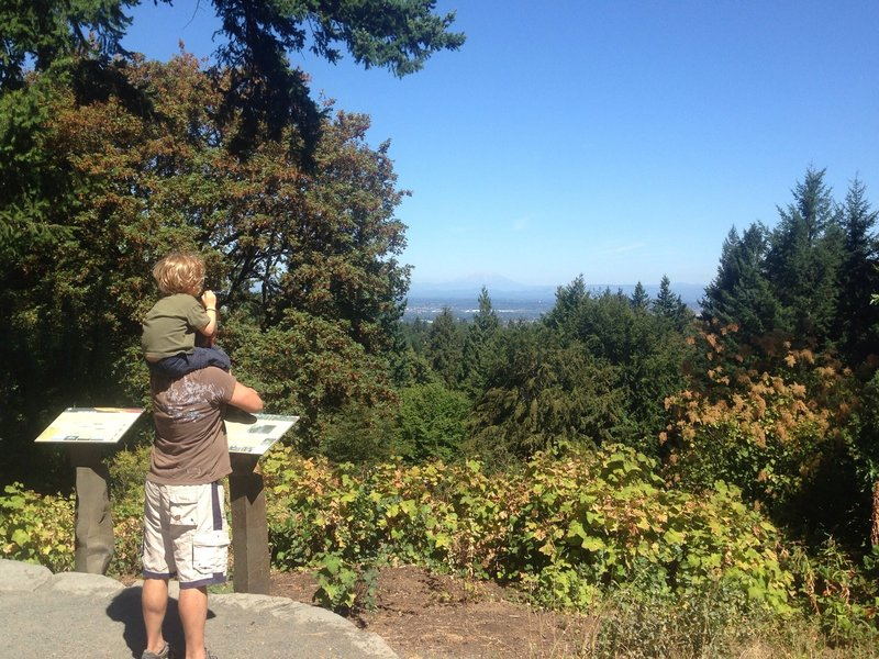 Taking in the view of St. Helens and Rainier from just off the Wildwood Trail in Washington Park. Bill Cunningham Photo