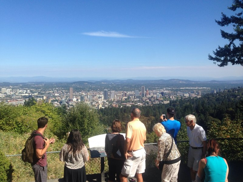 From the overlook at Pittock Mansion visitors are afforded a sweeping view of the city of Portland and far beyond to the Cascade range, where Mt. Hood can easily be seen in clear weather. Photo by Bill Cunningham