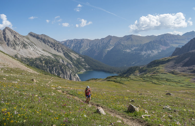 Oh yeah.....high above magical Snowmass Lake on Trail Rider Pass. Photo: Michelle Smith