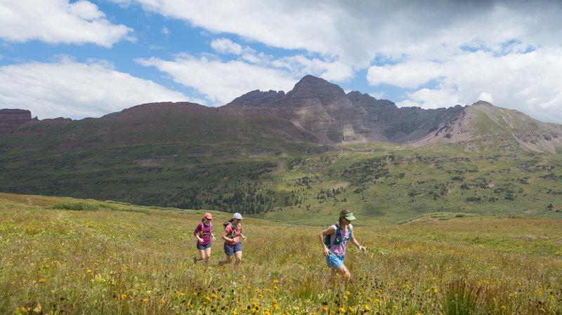 Running up heavenly Fravert Basin. Photo: Michelle Smith