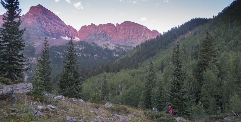 Starting the Four Pass journey. Dawn light on North Maroon Peak. Photo: Michelle Smith