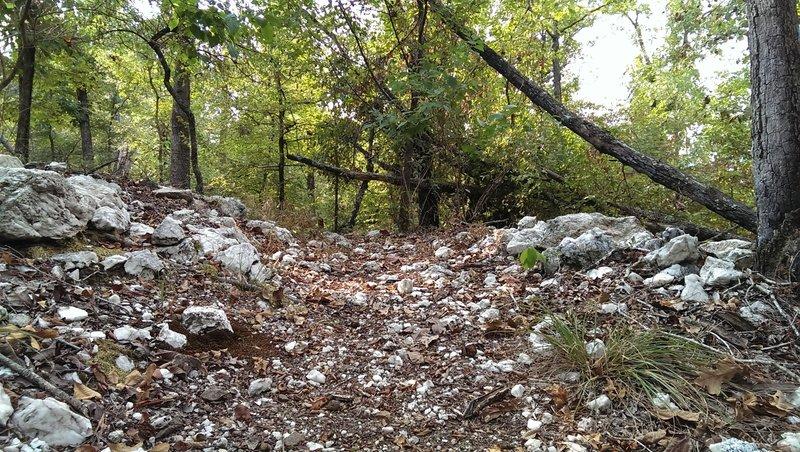 Heavier patched area of quartz