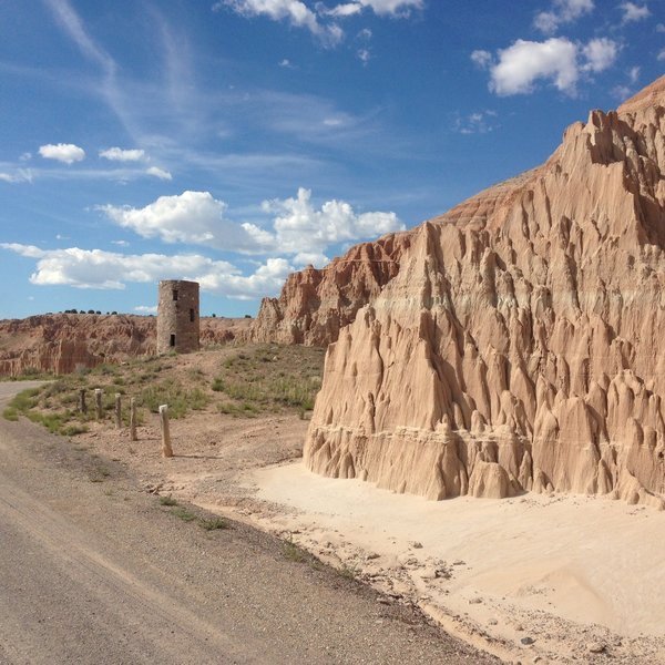 A view of the old abandoned water tower and some of the surrounding clay formations in Cathedral Gorge.