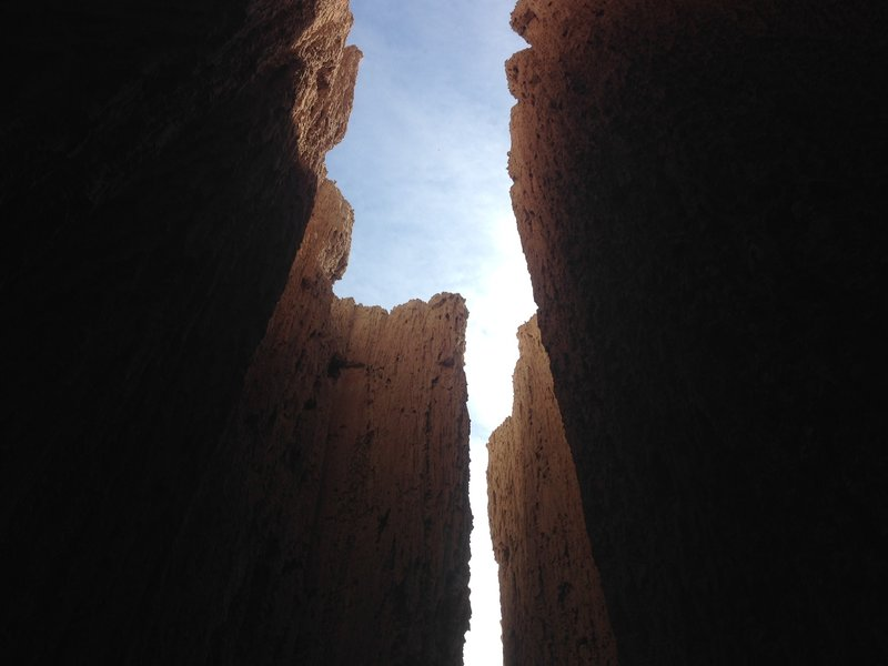 A view from inside one of the slot canyons into the sky above