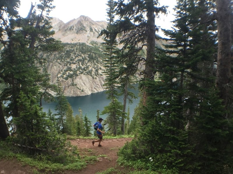 Descent through a pine forrest with majestic and stunning views of Snowmass Lake.