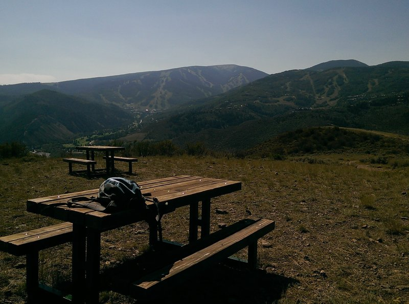 Great views of Beaver Creek ski area from the picnic benches