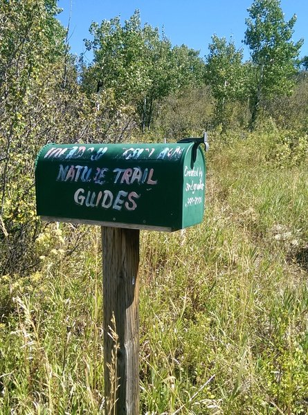 A 3rd grade class from the nearby school provides nature trail guides from this mailbox.