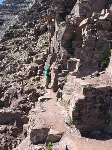 """Just past the """"leap of faith,"""" the ledges make for some fun navigation around protruding rocks."""