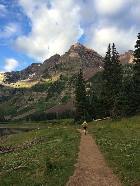 Beautiful Maroon Peak running past Crater Lake.