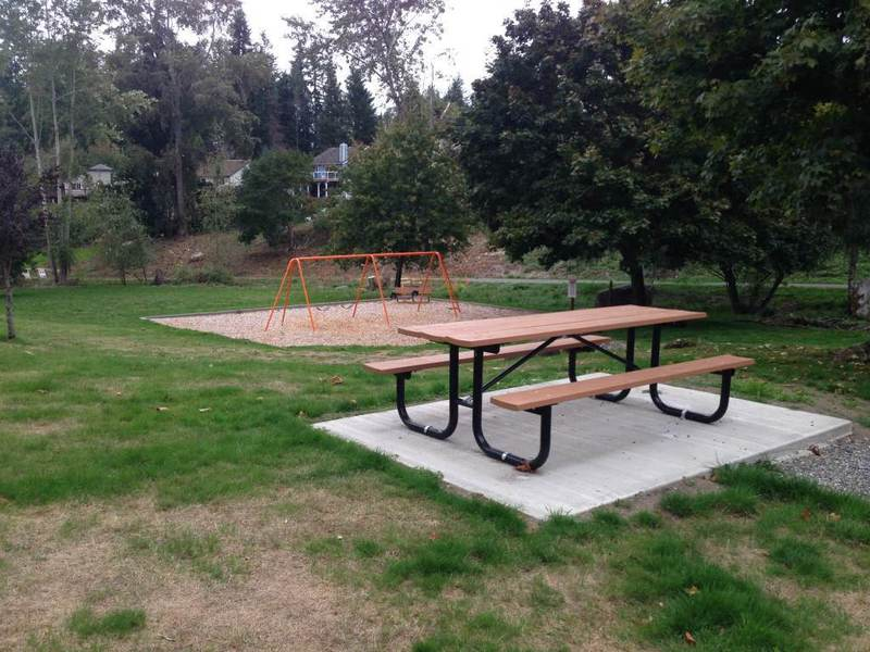 Swing set and picnic area.